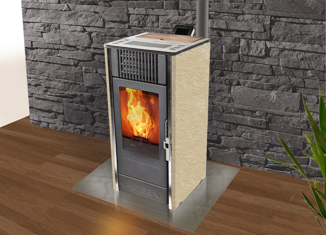 poêle à granulés Hoben H7 évolution élégance pierre chandorée flammée